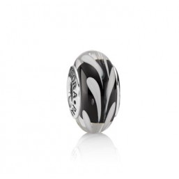 Pandora charm Black/white swirly swirl
