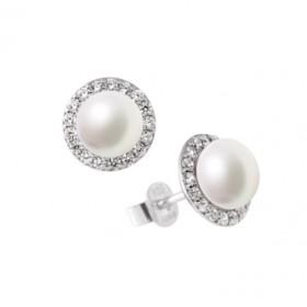 Diamonfire pendientes en plata con perla.