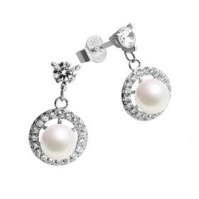 Diamonfire pendientes en plata con perlas.