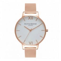 Olivia Burton White Dial Mesh reloj de mujer en acero.