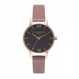 Olivia Burton Black Dial reloj de mujer en piel.
