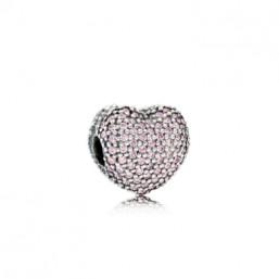 """Pandora clip para pulsera """" Abre mi corazón"""" en pavé rosa"""
