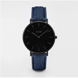 Cluse La Bohème Full Black reloj de mujer con correa vaquera.