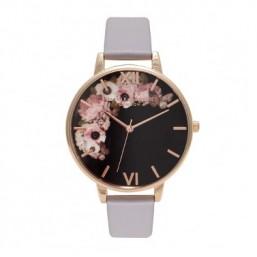 Olivia Burton Winter Garden Grey reloj de mujer en piel.