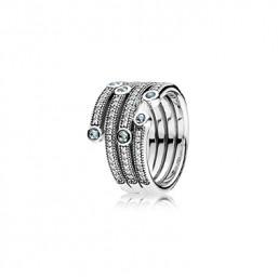 """Pandora anillo """"Océano Brillante"""" en plata, talla 12."""