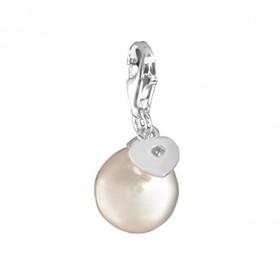Thomas Sabo charm en plata con perla blanca y diamante.