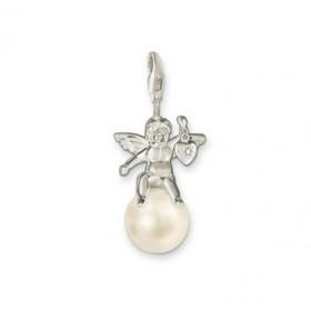 Thomas Sabo charm de ángel en plata y con una perla.