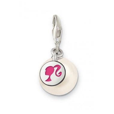 Thomas Sabo charm en plata con perla y esmalte rosa.