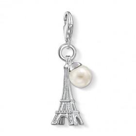Thomas Sabo charm de Torre Eiffel con perla en plata.