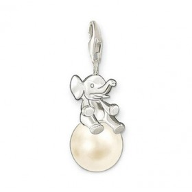 Thomas Sabo charm de elefante con perla en plata.