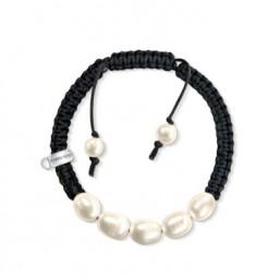 Thomas Sabo pulsera de mujer en cordón negro y perlas