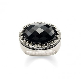 Thomas Sabo anillo de plata con onix y circonitas negras