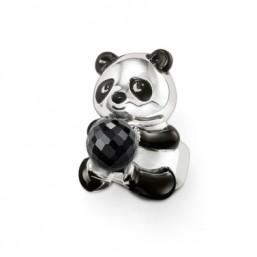 "Thomas Sabo anillo ""Oso Panda"" en plata y esmalte negro."