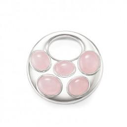 Thomas Sabo colgante para collar en plata y cuarzos rosa.