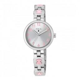 Tous Bahia reloj analógico de niña en acero con motivos en rosa.
