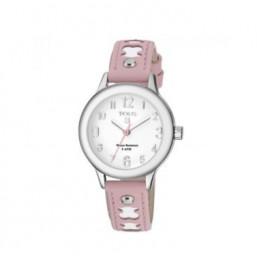 Tous Dolce blanco y rosa reloj analógico de niña en piel.