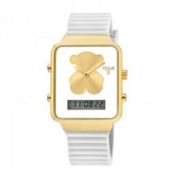 Tous I-Bear reloj analógico y digital con correa de silicona blanca.