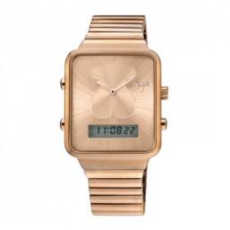Tous I-Bear reloj analógico y digital de acero IP rosado.