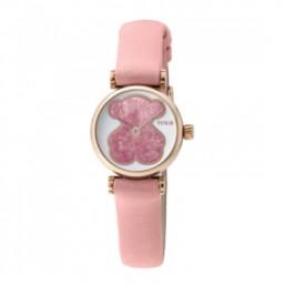 Tous Camille reloj analógico de mujer con correa de piel rosa.
