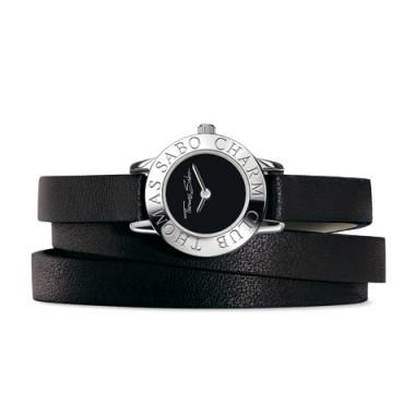 Thomas Sabo reloj Charm Club en cuero negro.