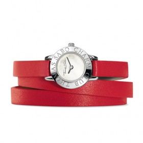 Thomas Sabo reloj Charm Club en cuero rojo.