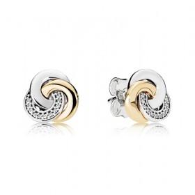 """Pandora pendientes """"Círculos Conectados"""" en plata y oro."""