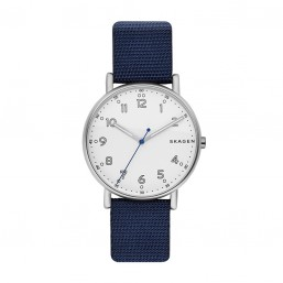 Skagen Signatur reloj analógico de caballero en nylon azul.