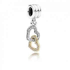 """Pandora charm colgante """"Corazones Conectados"""" en plata y oro."""