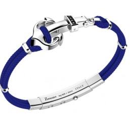Zancan pulsera de caballero con ancla en cordón kevlar azul oscuro.