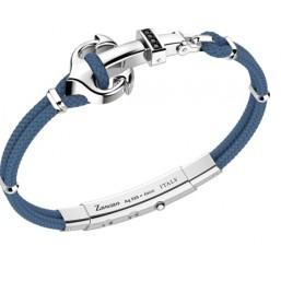 Zancan pulsera de caballero con ancla en cordón kevlar gris