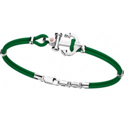 Zancan pulsera con ancla de caballero en cordón náutico verde.