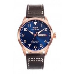 Sandoz reloj analógico de caballero en piel.