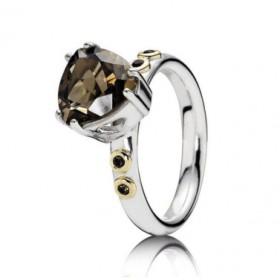 Pandora anillo de plata con cuarzo ahumado