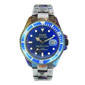 """OOO reloj de caballero """"Soloacciaio Azul"""" en acero."""