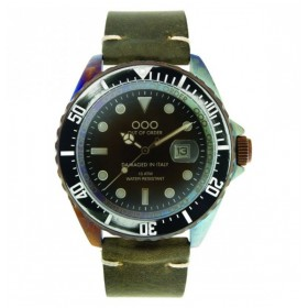 "OOO reloj de caballero ""Dark Green 44mm"" en piel"