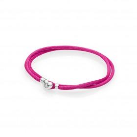 Pandora pulsera Moments en cordón Rosa.