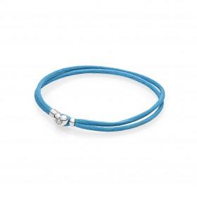Pandora pulsera Moments en cordón azul turquesa.