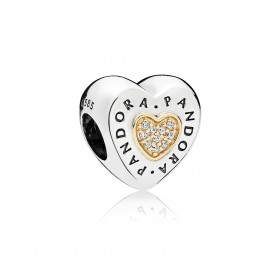 """Pandora charm """"Corazón logo Pandora"""" en plata y oro."""