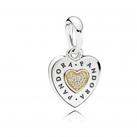 "Pandora charm colgante ""Corazón Logo Pandora"" en plata y oro."