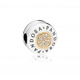 Pandora clip Logo en plata y oro.