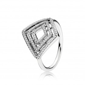 "Pandora anillo ""Líneas geométricas"" en plata."
