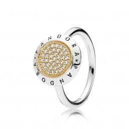 """Pandora anillo """"Logo Pandora"""" en plata y oro."""