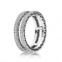 "Pandora anillo ""Doble Corazones de Pandora"" en plata."