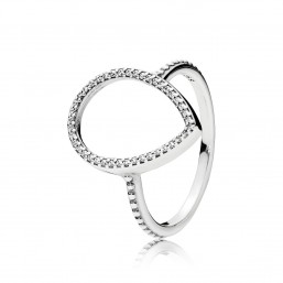 """Pandora anillo """"Silueta de Lágrima"""" en plata."""