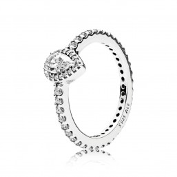 "Pandora anillo ""Lágrima Radiante"" pequeña en plata."