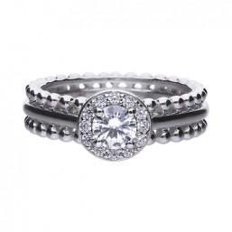 Diamonfire anillo de mujer en plata