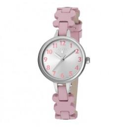 Tous New Cruise reloj analógico de niña en piel color rosa.