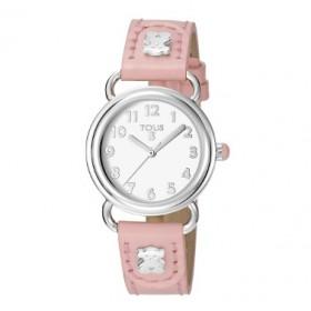 Tous Baby Bear reloj analógico de niña en piel rosa.