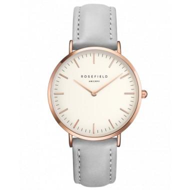 Rosefield reloj de mujer Colección The Bowery en piel gris.