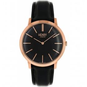 Henry London reloj de caballero Colección Iconic en piel negra.